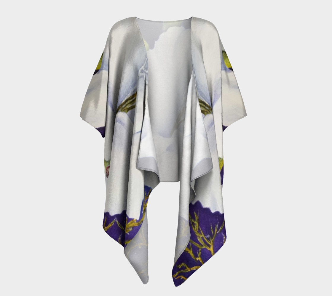 White Gladiola Draped Kimono preview #1