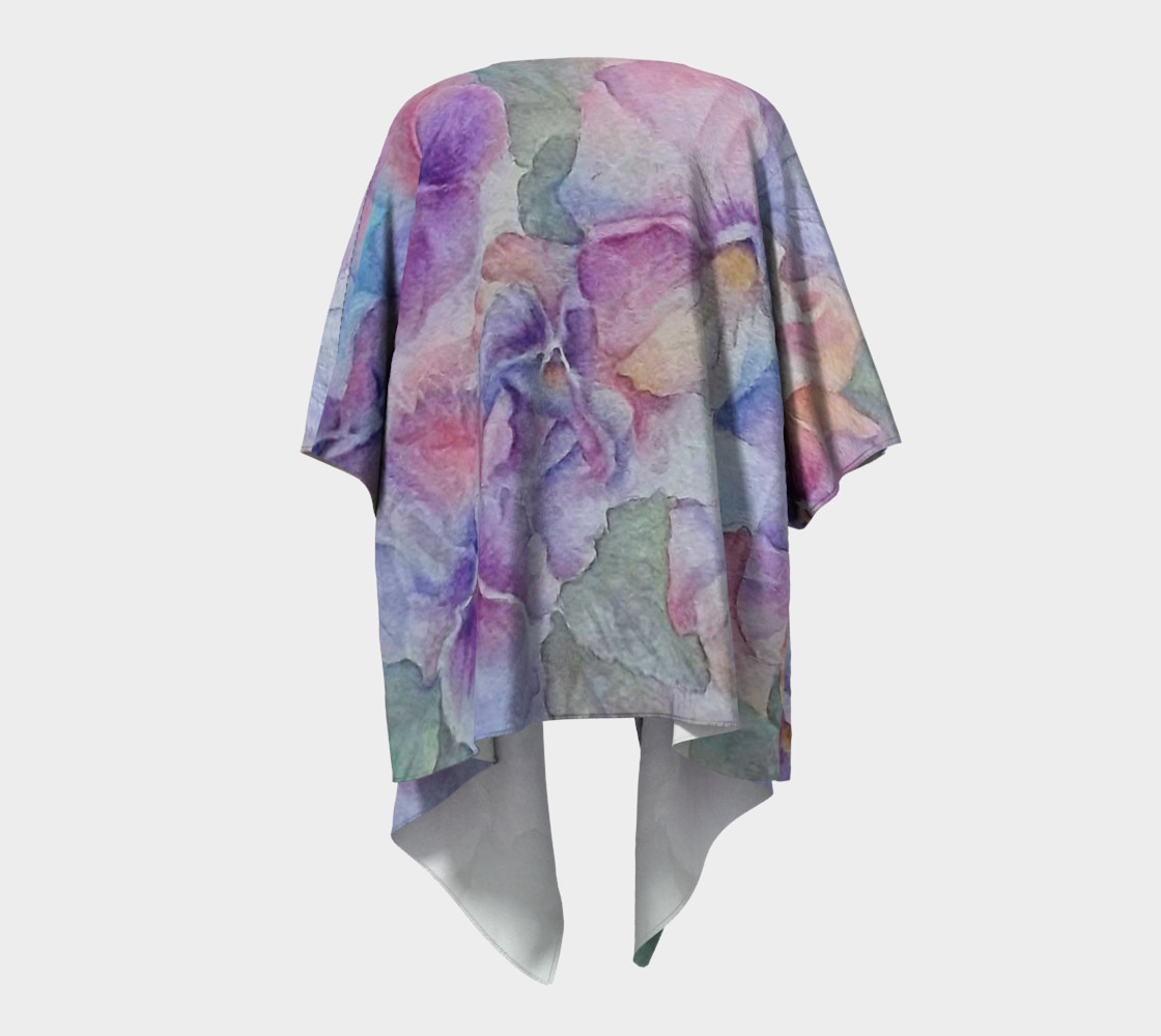 Purple Pansy Party Draped Kimono preview #4