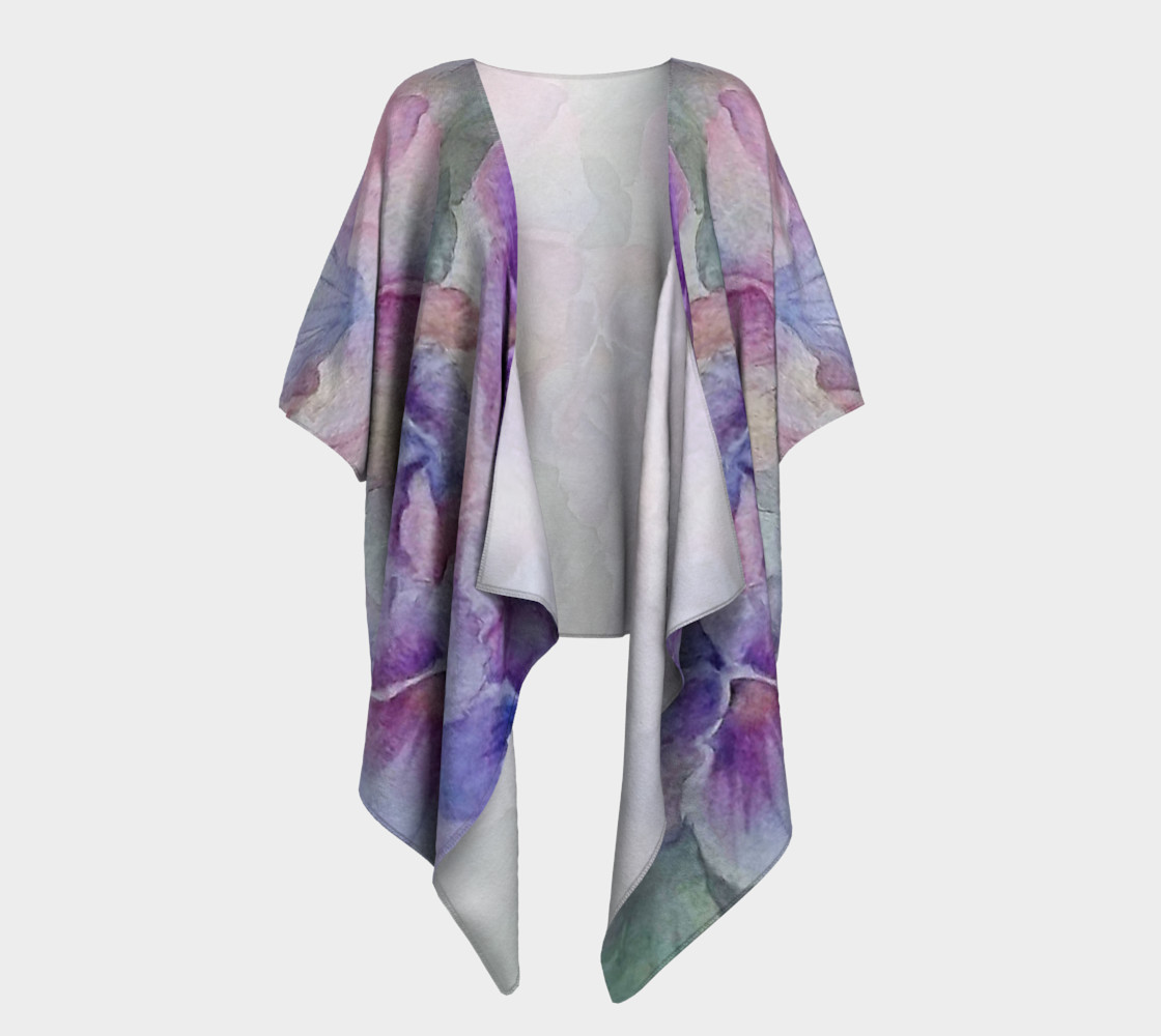 Purple Pansy Party Draped Kimono 3D preview