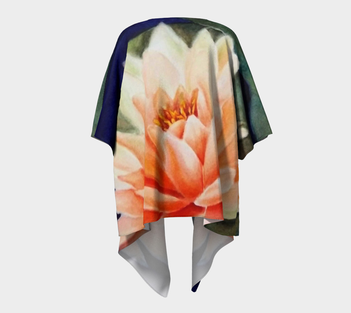 Orange Waterlily Draped Kimono preview #4