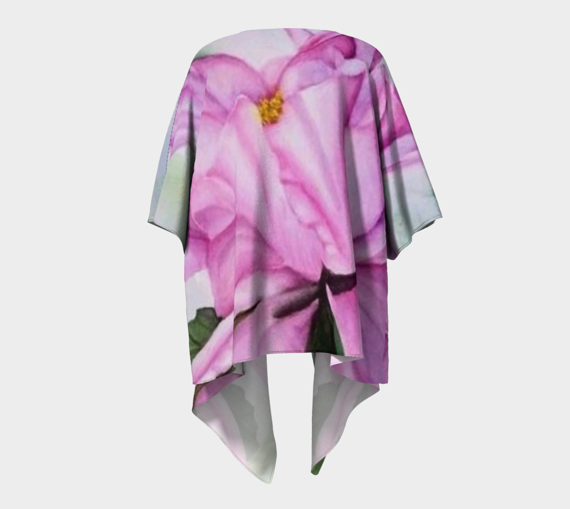 Tropical Pink Orchid Draped Kimono preview #4