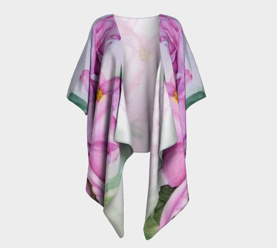 Tropical Pink Orchid Draped Kimono preview #1