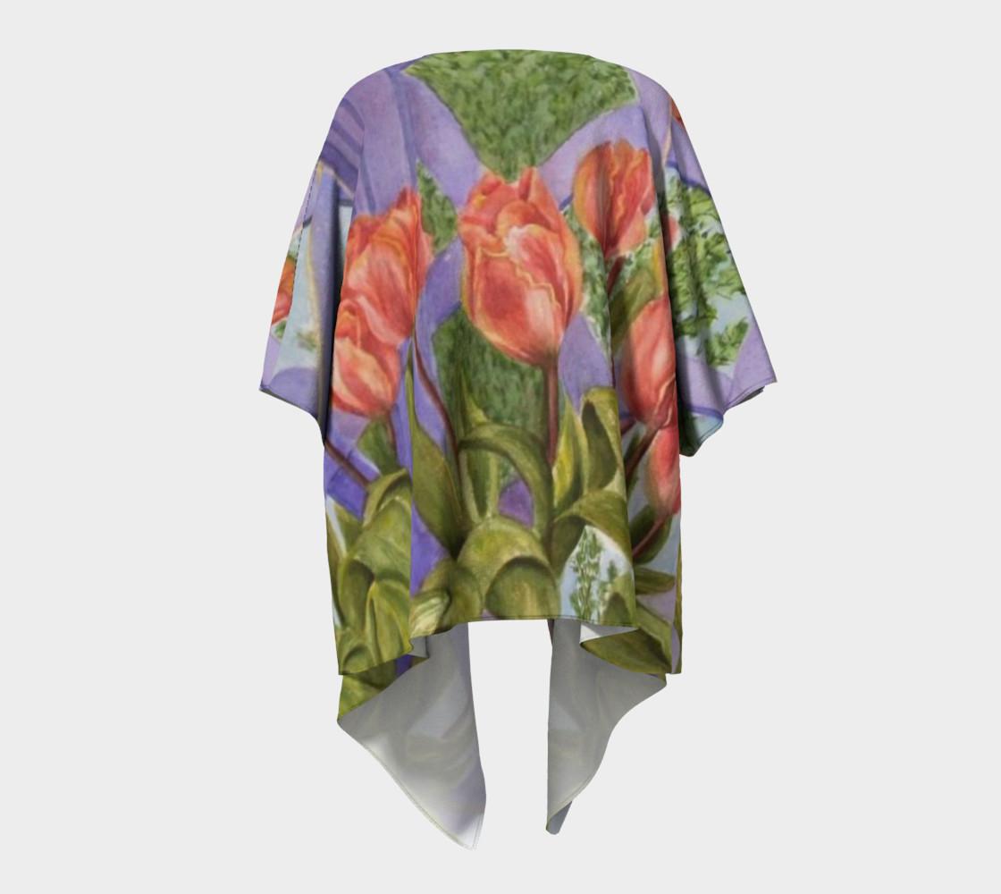 Orange Tulip Bouquet Draped Kimono preview #4