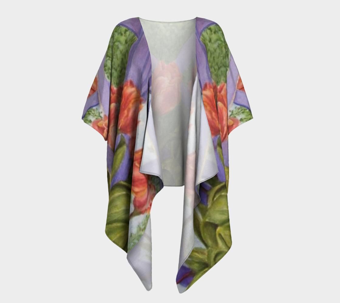 Orange Tulip Bouquet Draped Kimono preview #1