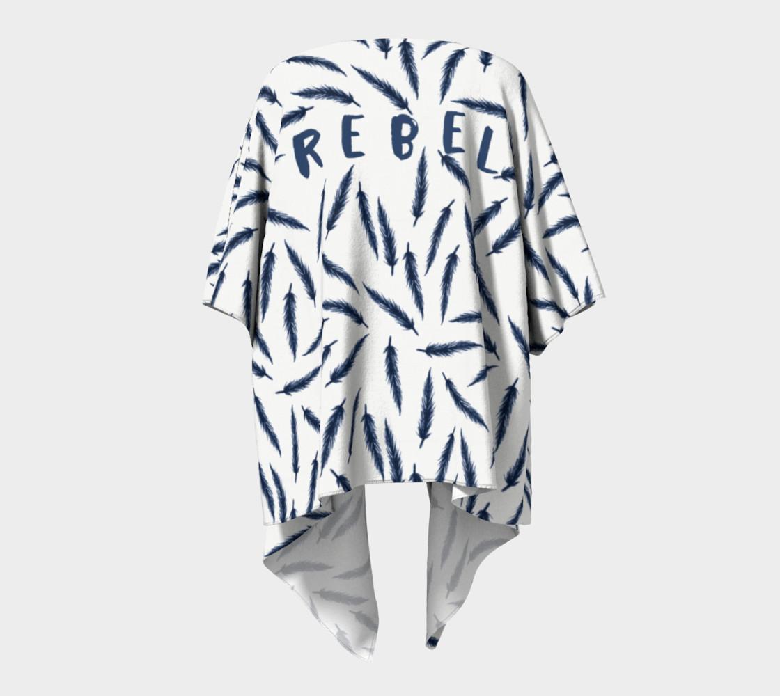 Rebel Draped Kimono in White Navy preview #4