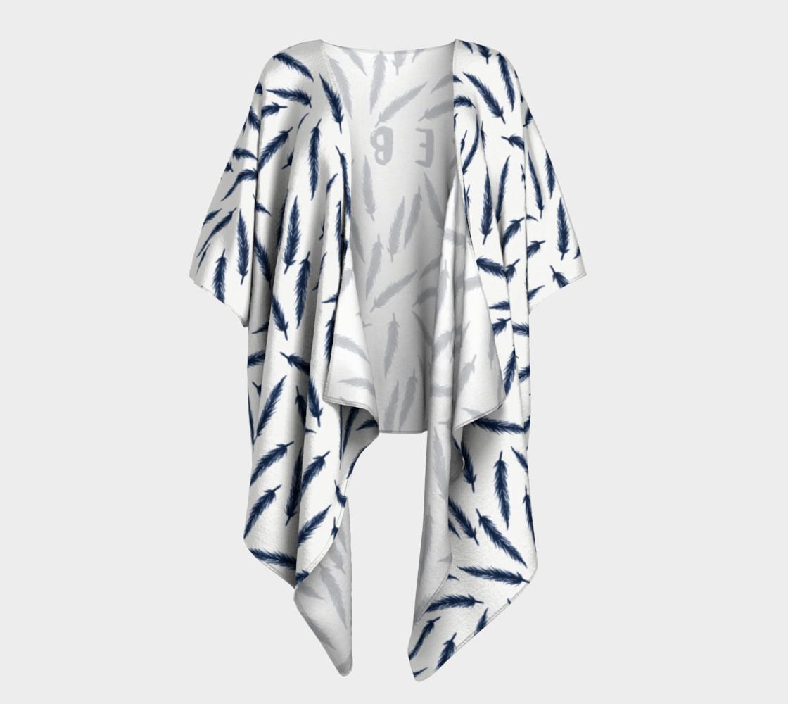 Rebel Draped Kimono in White Navy preview #1