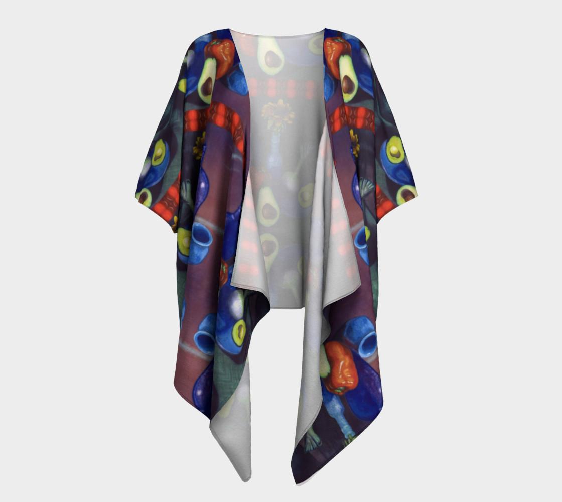 Aperçu de Avocado & Red Pepper Draped Kimono #1