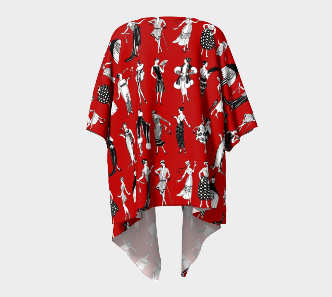 Aperçu de La Vie Parisienne Rouge - Draped Kimono #4