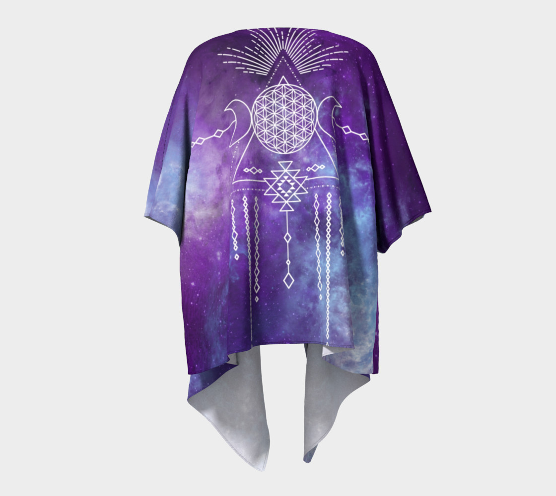 Aperçu de Flower of Life Geometry Moon Boho Purple Kimono #4