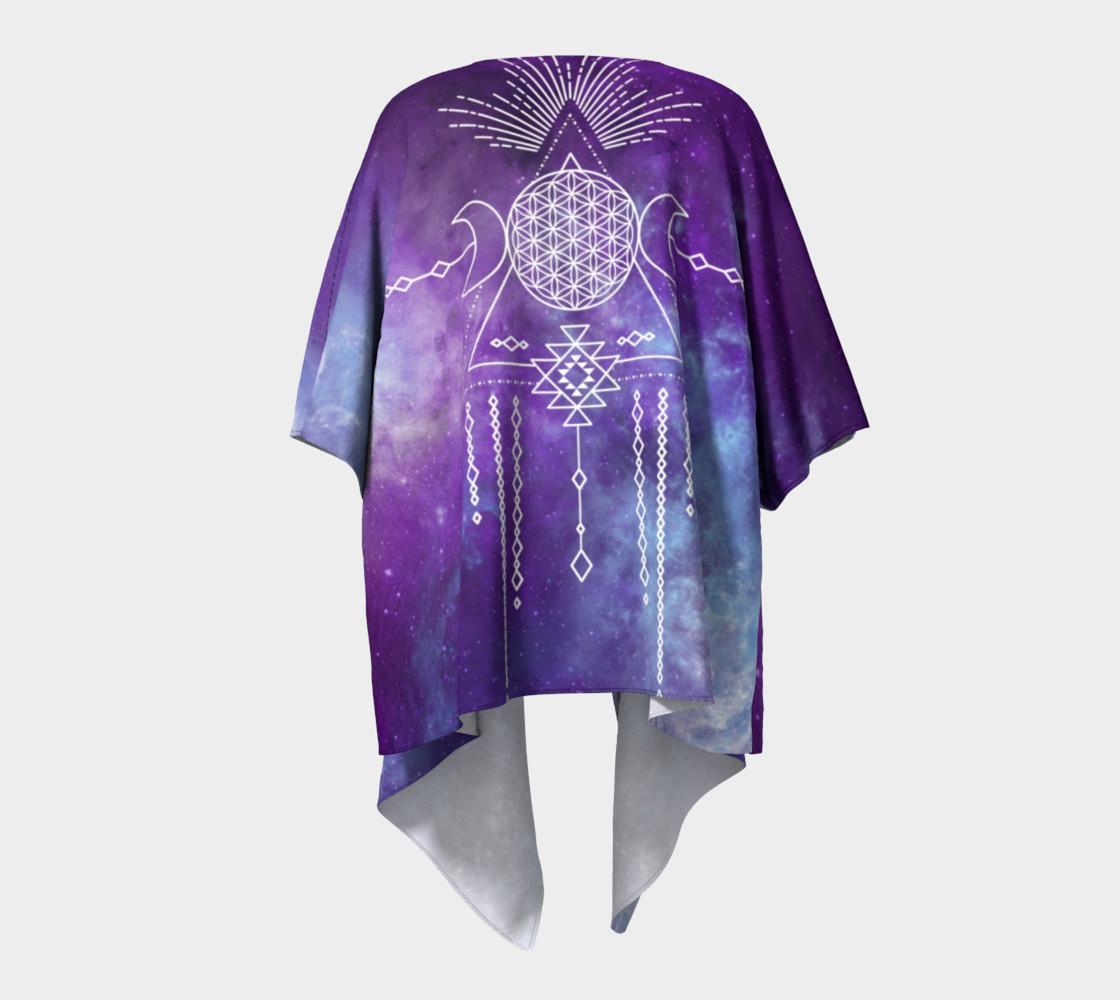 Flower of Life Geometry Moon Boho Purple Kimono preview #4