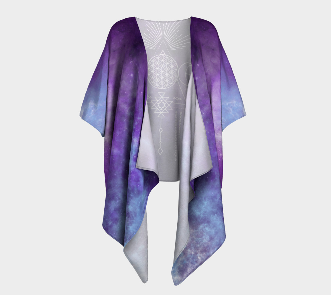 Flower of Life Geometry Moon Boho Purple Kimono preview #1