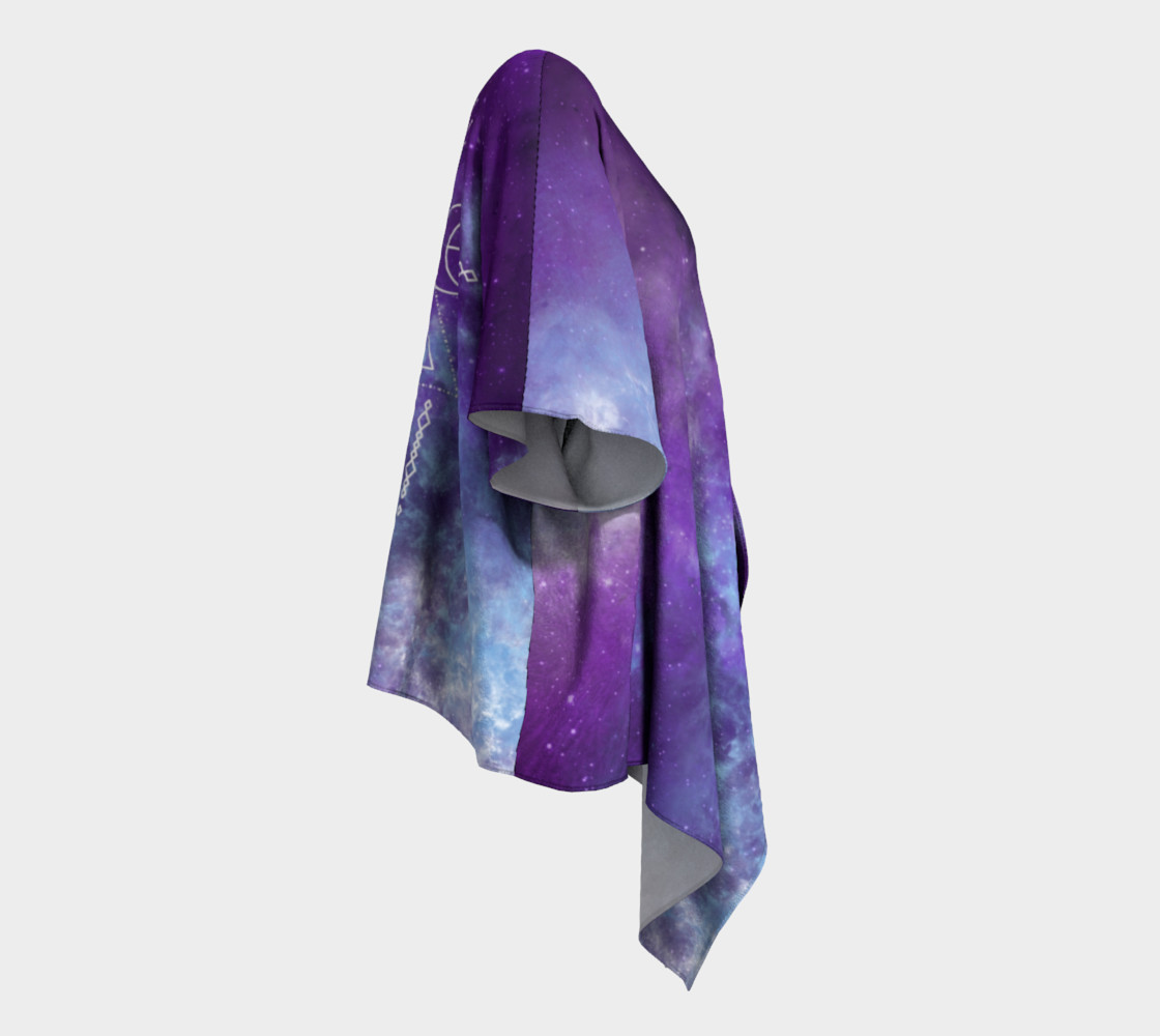 Flower of Life Geometry Moon Boho Purple Kimono preview #3