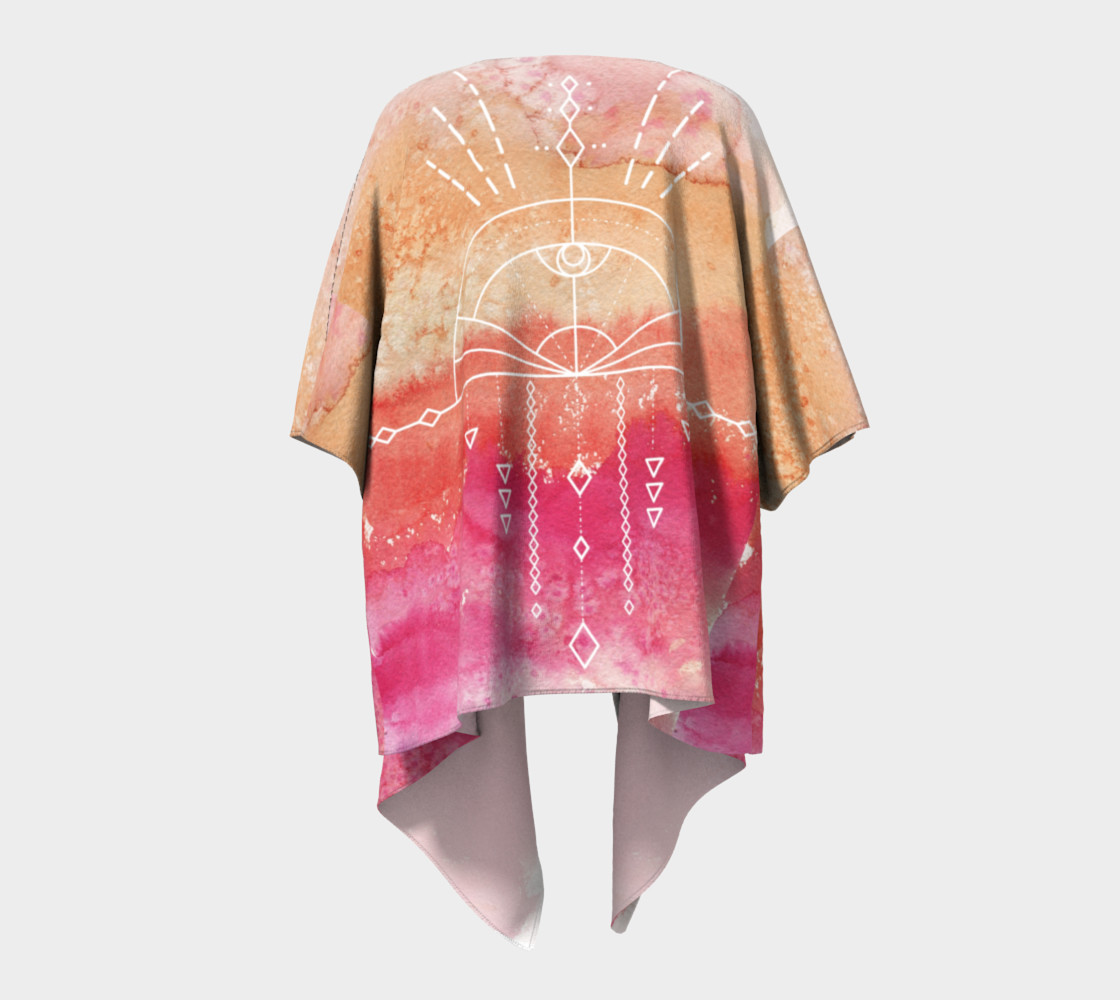 Peach watercolor gradient sunrise geometry kimono preview #4