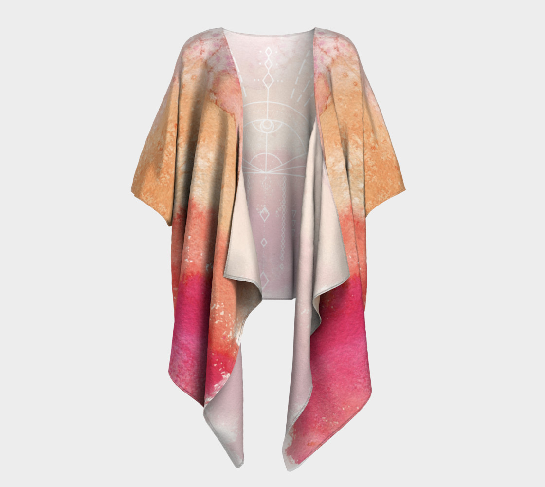 Peach watercolor gradient sunrise geometry kimono preview #1