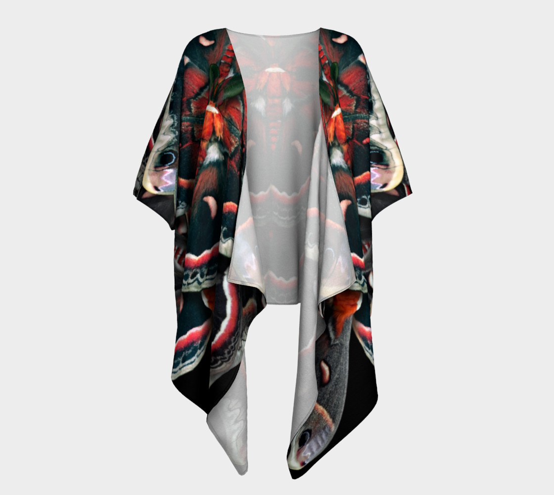 Aperçu de Mondo Cecropia Moth Draped Kimono  #1