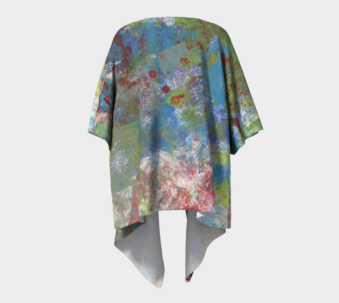 Multi Blue and Green Draped Kimono preview #4