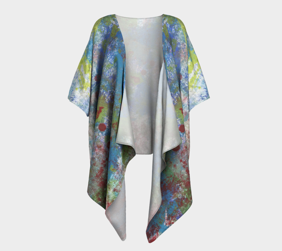 Multi Blue and Green Draped Kimono preview #1