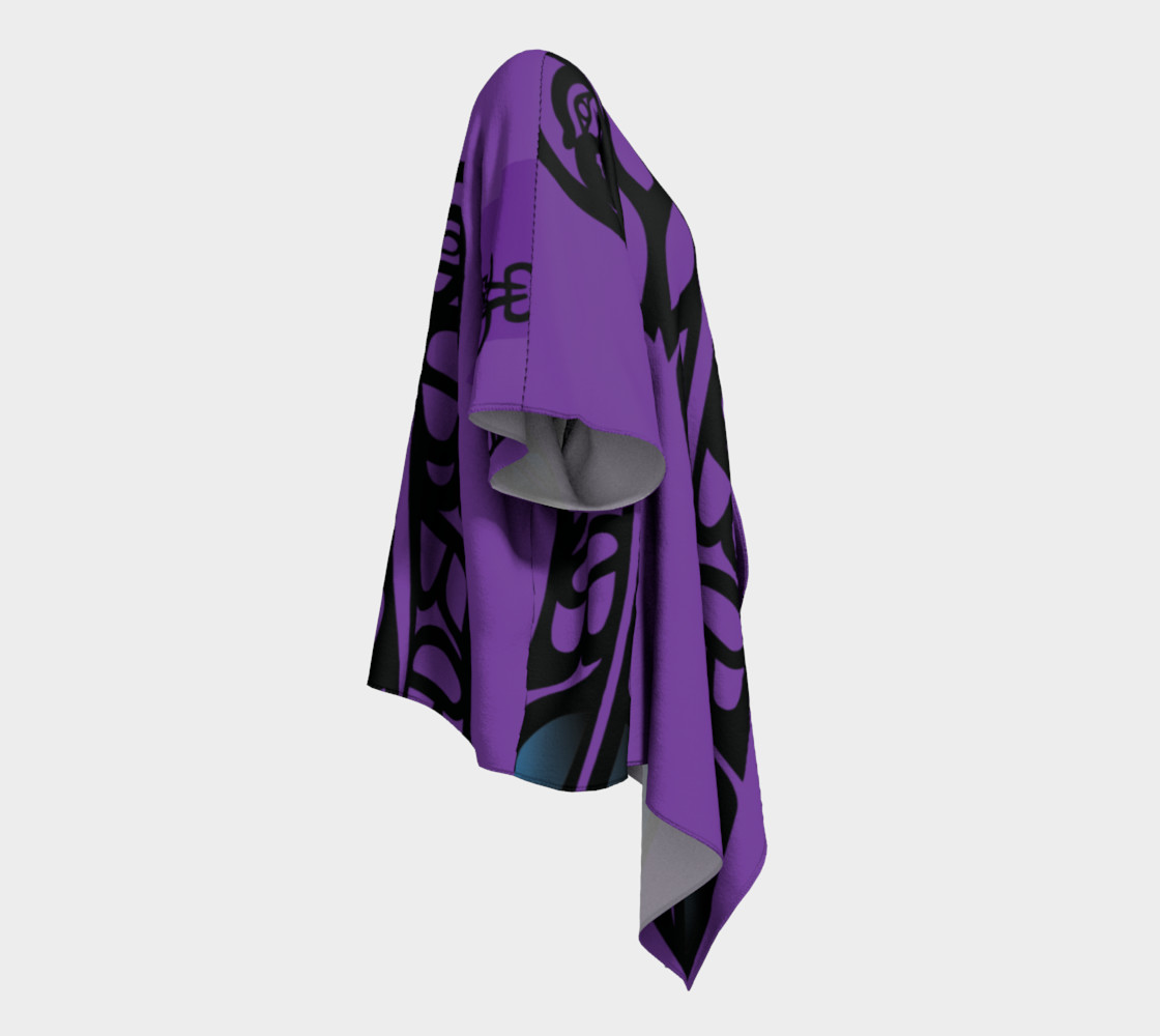 Black Raven & Eagle Feathers on Purple, by Mia Hunt  preview #3