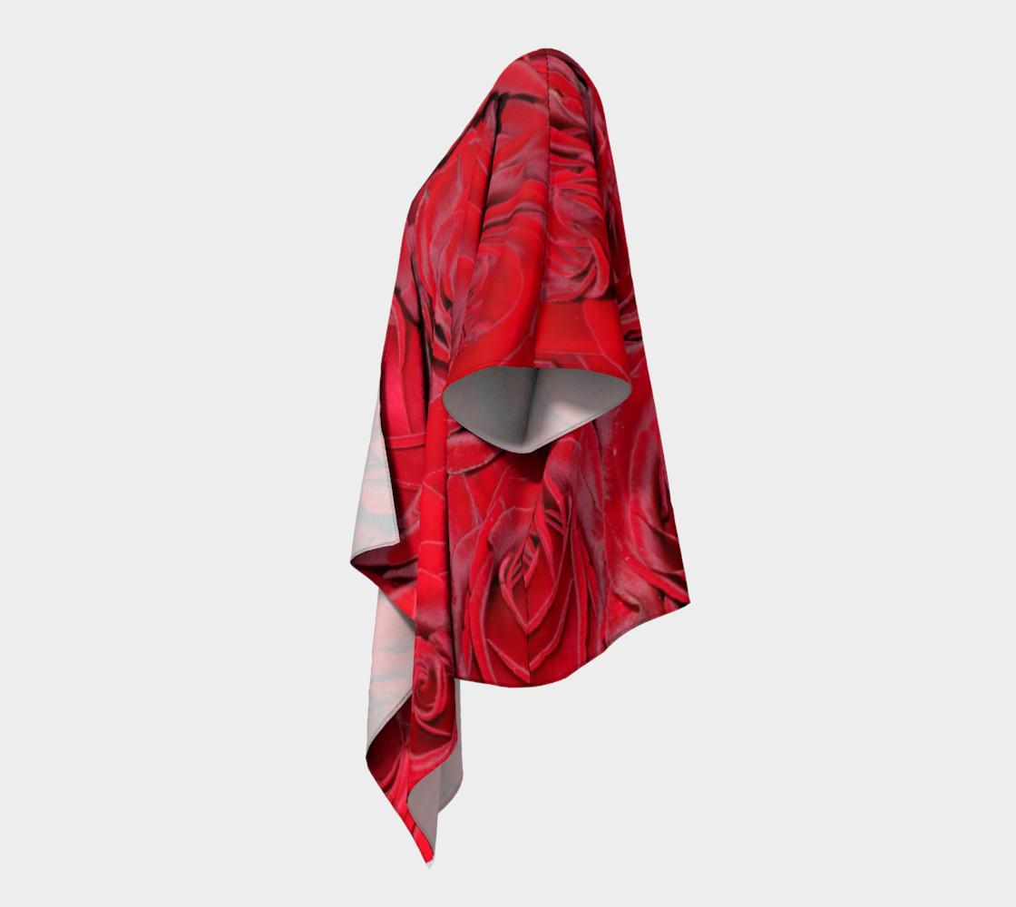 Red Roses Floral Design Draped Kimono preview #2