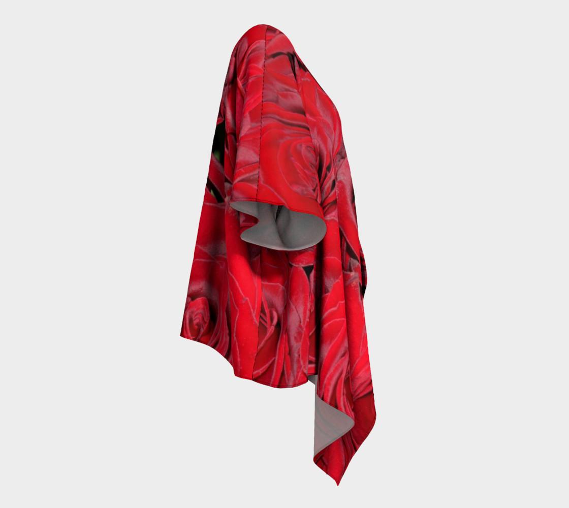 Red Roses Floral Design Draped Kimono preview #3