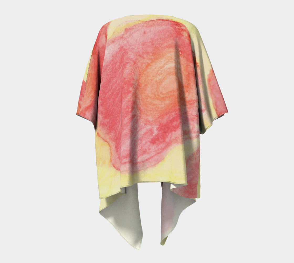 Red Flower Blooms Draped Kimono preview #4
