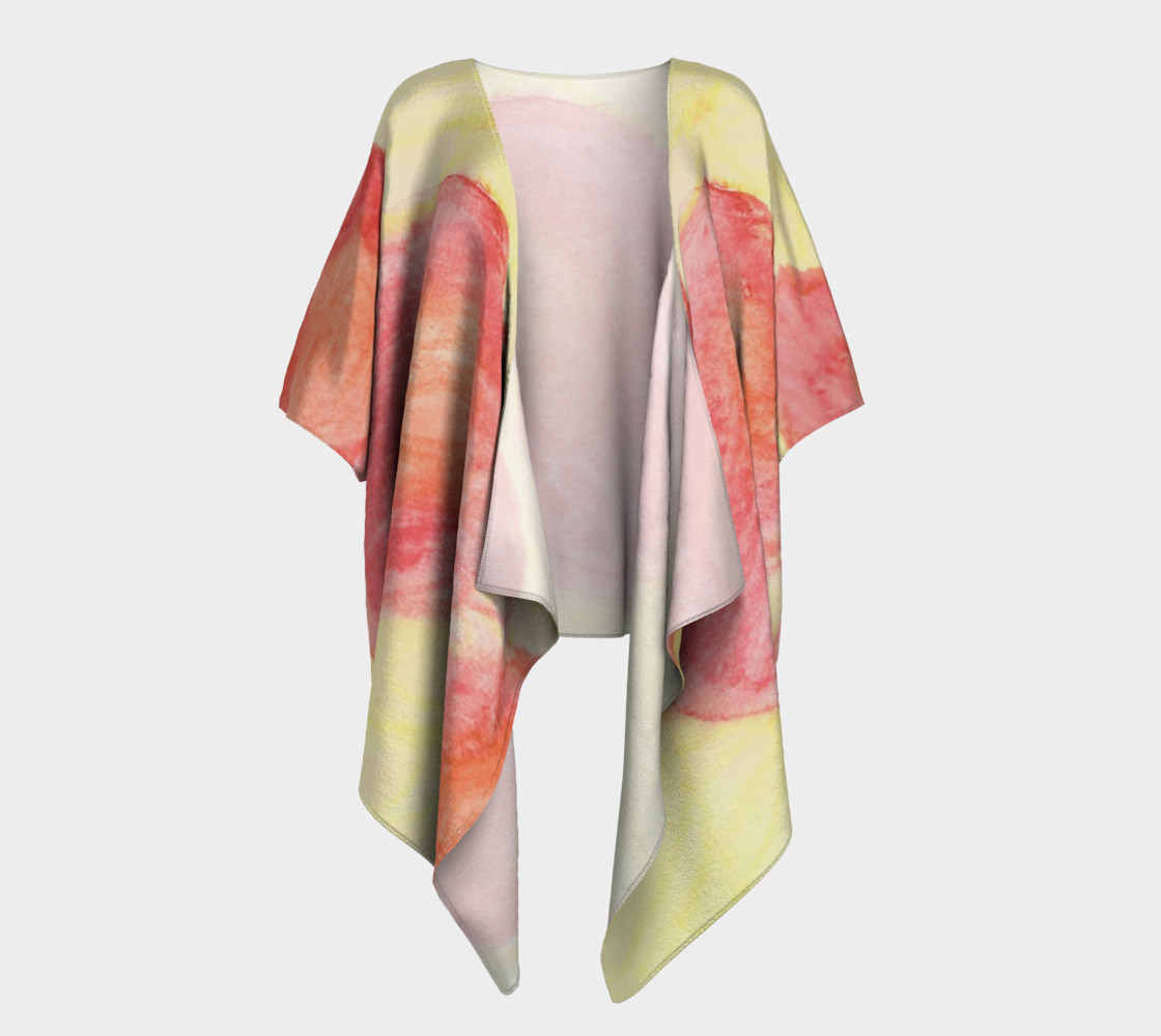 Red Flower Blooms Draped Kimono preview #1