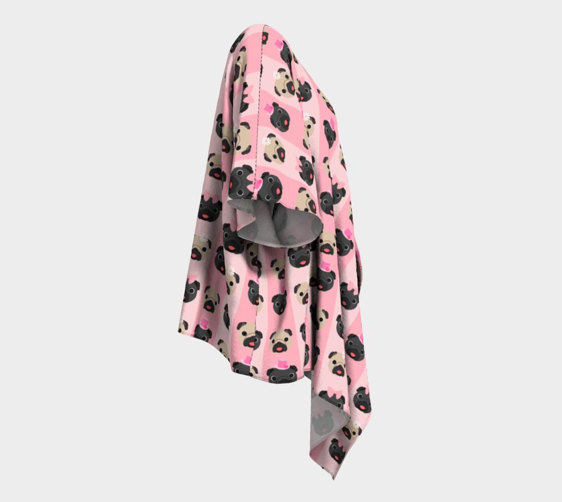 Aperçu de Black and Fawn Pugs on Pink Stripes  #3