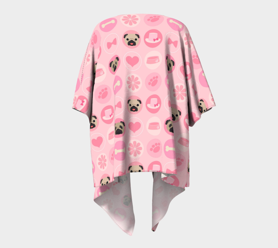 Aperçu de Fawn Pugs - Pastel Pink Valentine's Kimono #4