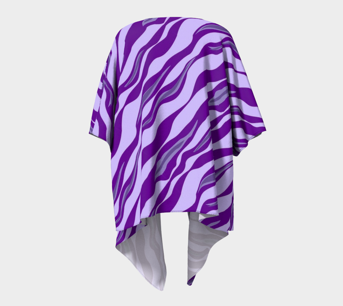 Aperçu de Purple Tiger Stripe Draped Kimono #4