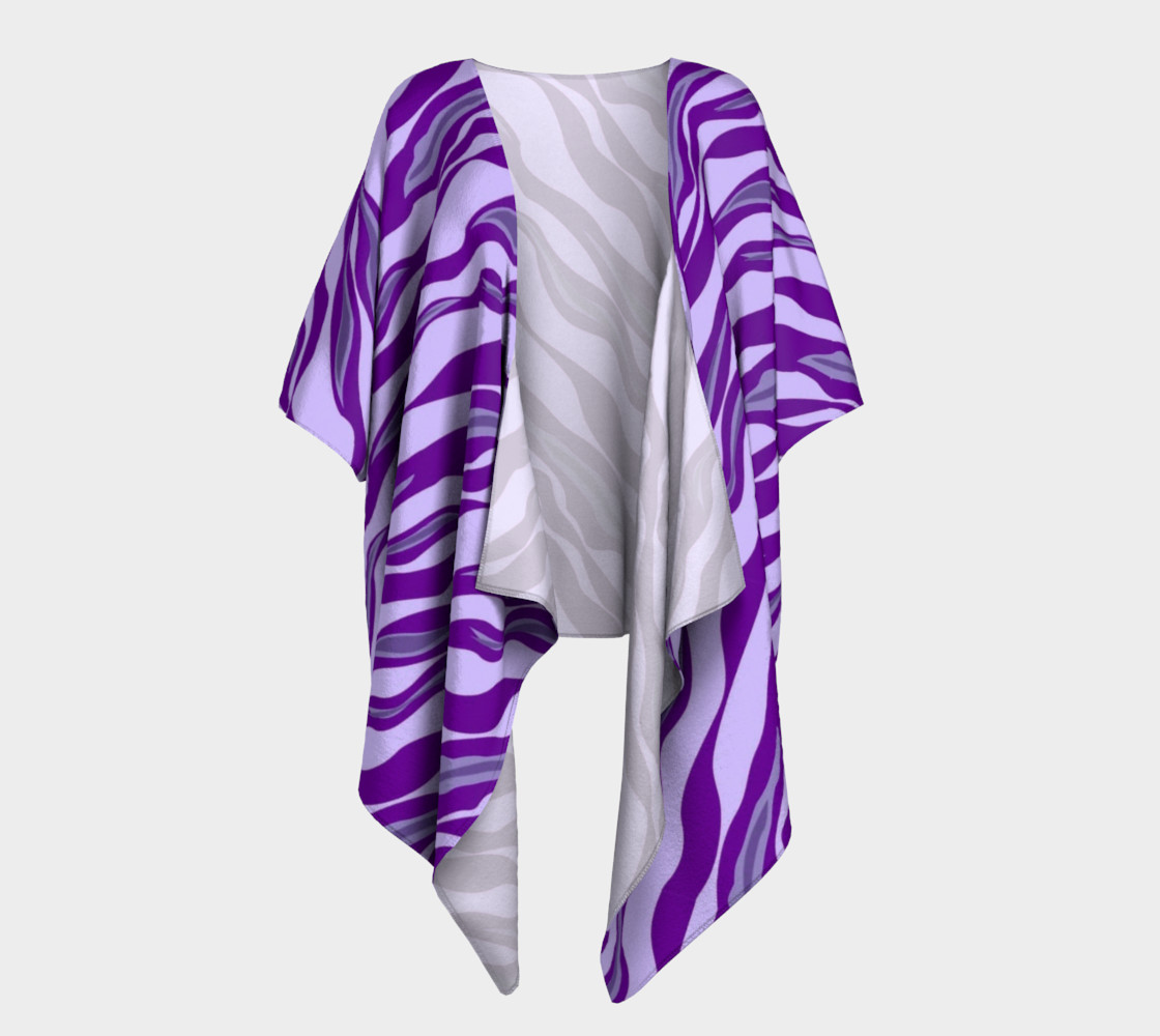 Aperçu de Purple Tiger Stripe Draped Kimono #1
