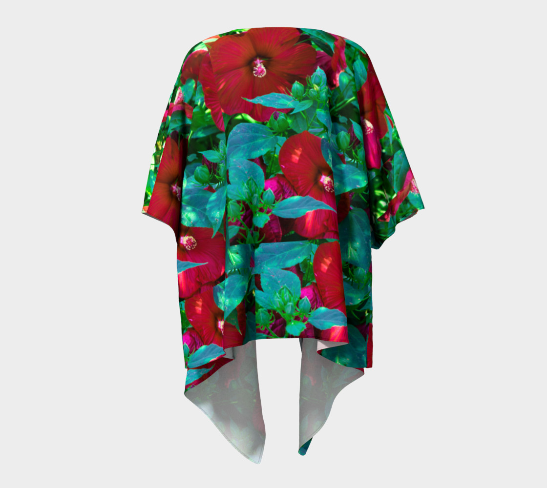 Aperçu de Hawaiian Hibiscus Flower Draped Kimono #4