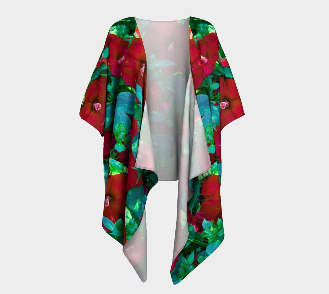 Aperçu de Hawaiian Hibiscus Flower Draped Kimono #1