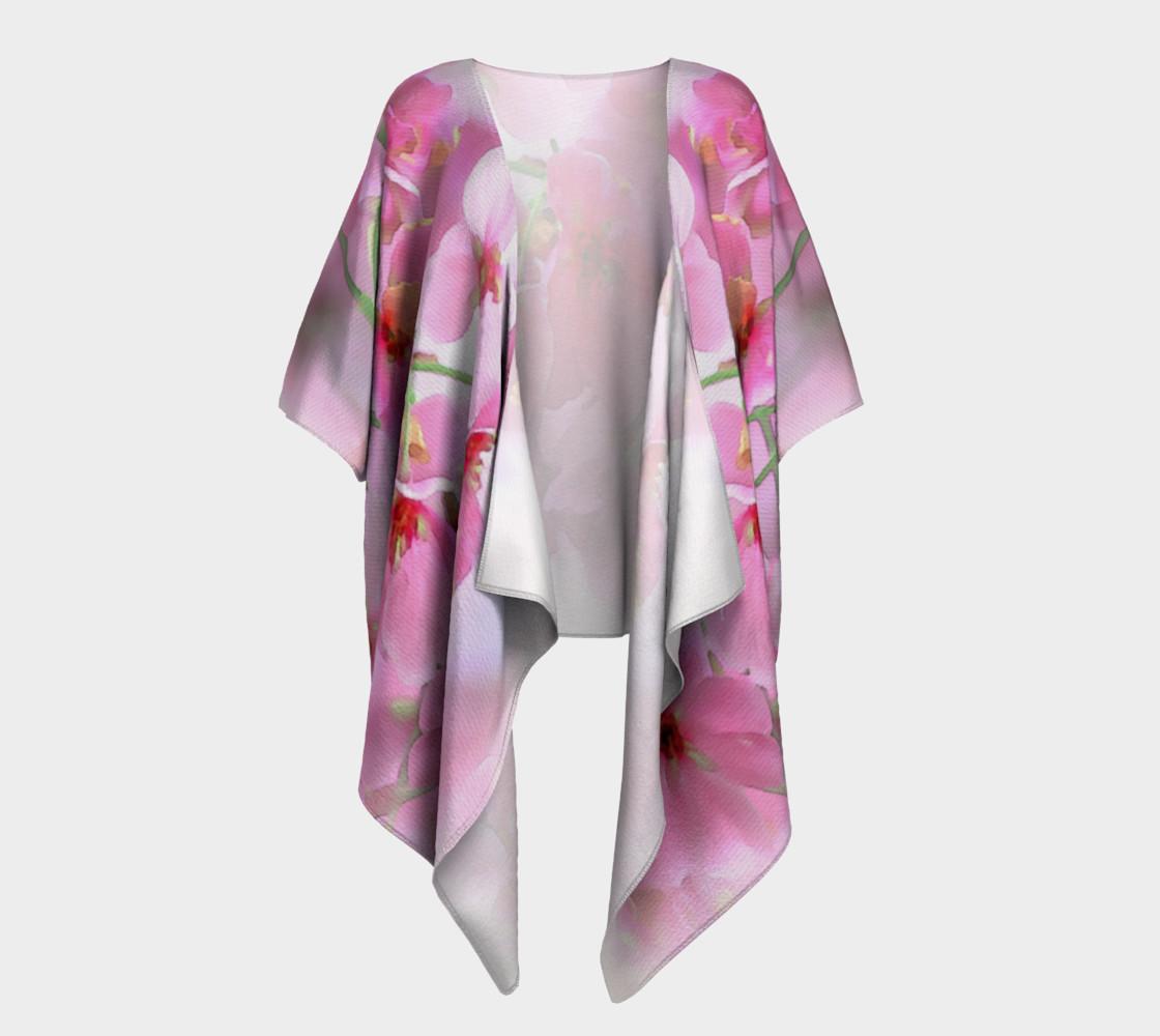 Water Color Peach Blossom Floral Draped Kimono preview #1