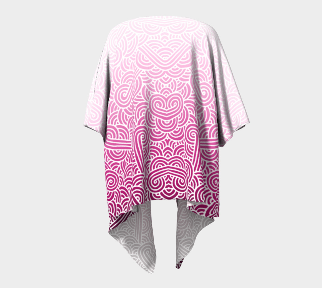 Ombre pink and white swirls doodles Draped Kimono preview #4