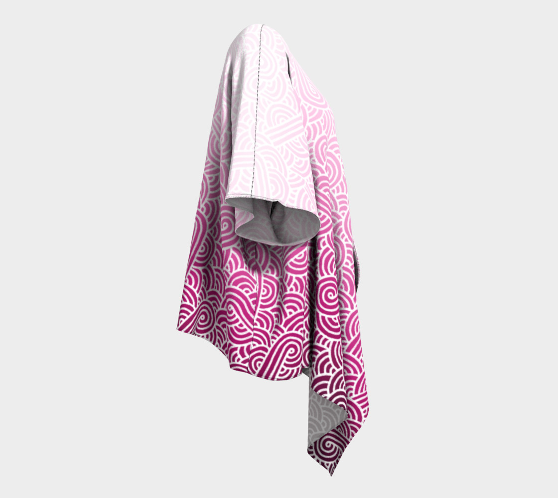 Ombre pink and white swirls doodles Draped Kimono preview #3