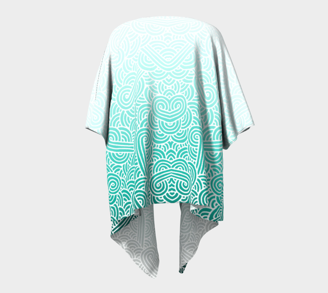 Aperçu de Ombre turquoise blue and white swirls doodles Draped Kimono #4