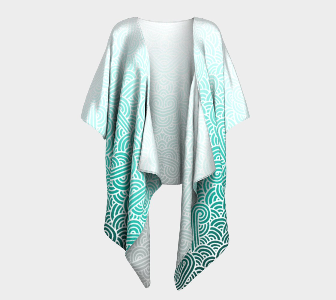 Aperçu de Ombre turquoise blue and white swirls doodles Draped Kimono #1