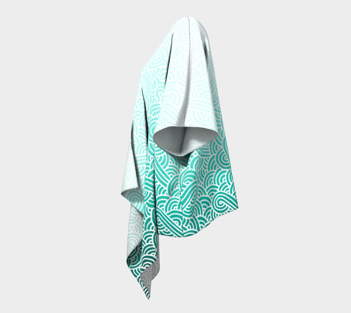 Aperçu de Ombre turquoise blue and white swirls doodles Draped Kimono #2