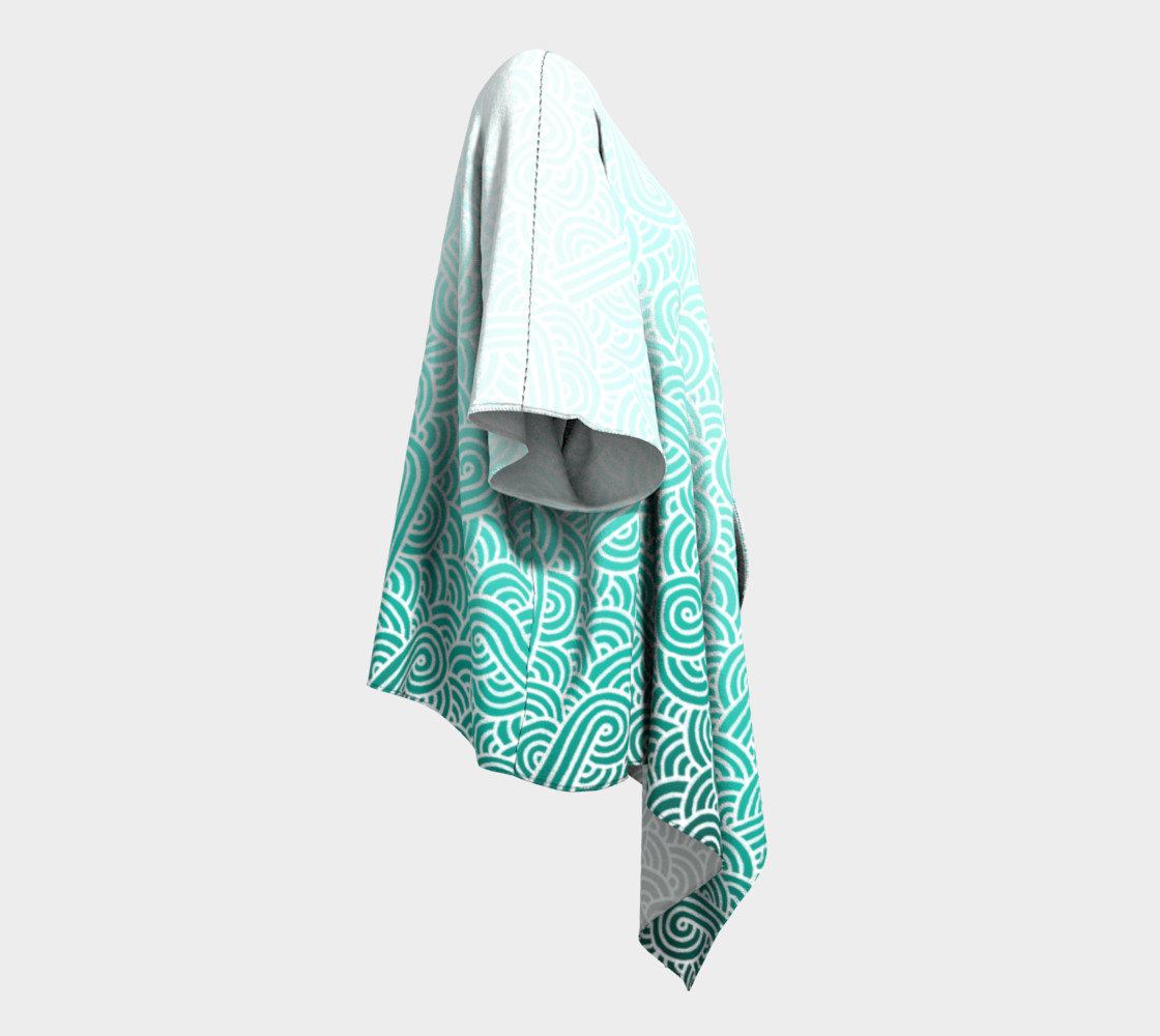 Aperçu de Ombre turquoise blue and white swirls doodles Draped Kimono #3