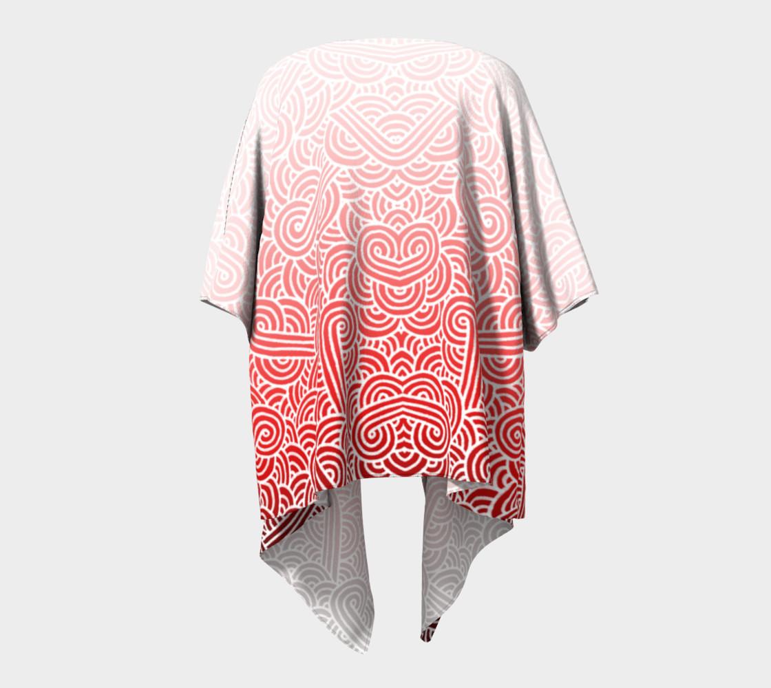 Aperçu de Ombre red and white swirls doodles Draped Kimono #4