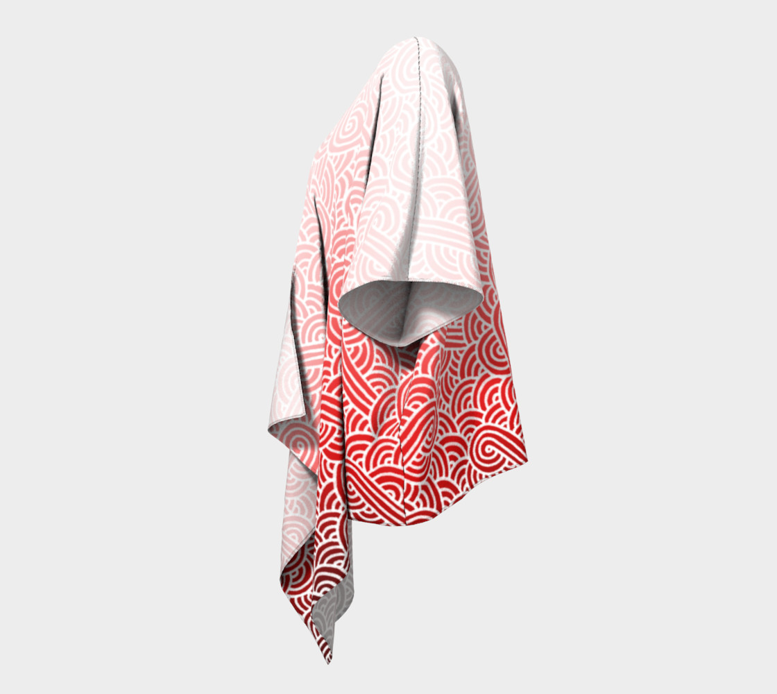 Aperçu de Ombre red and white swirls doodles Draped Kimono #2