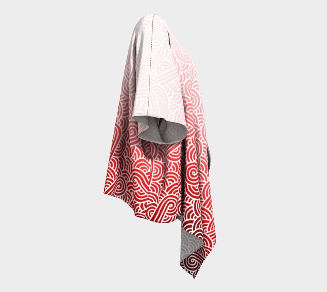 Aperçu de Ombre red and white swirls doodles Draped Kimono #3