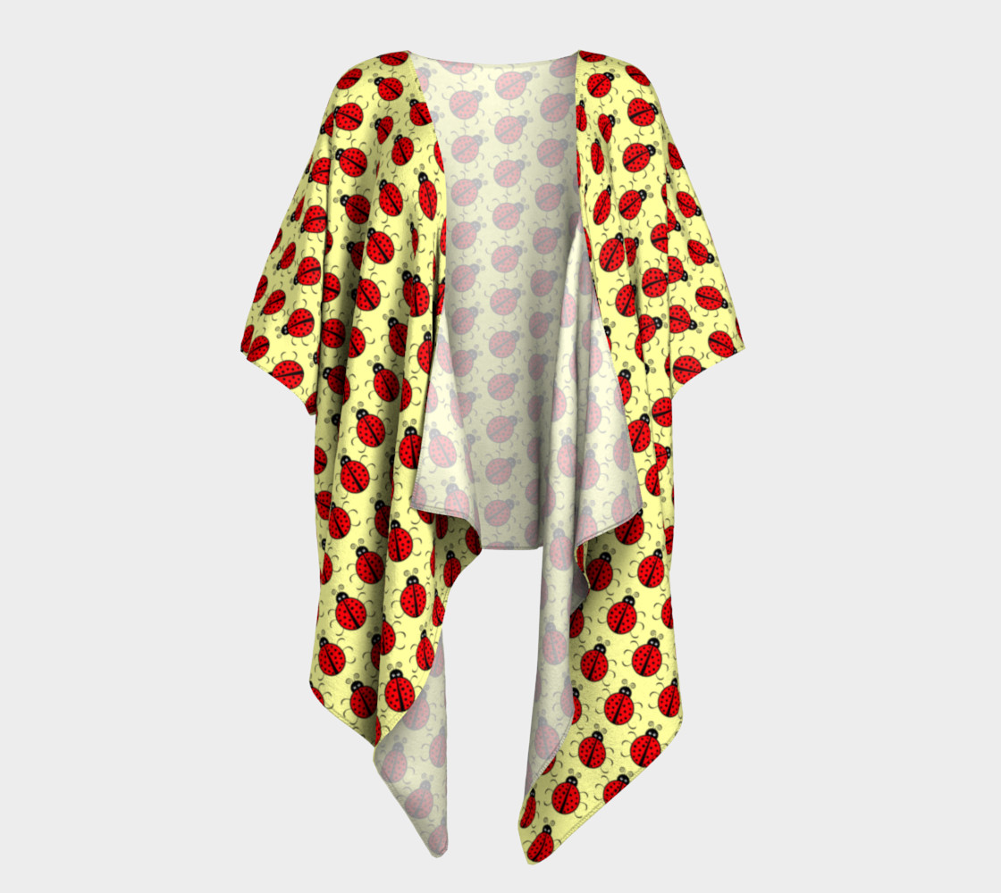 Ladybugs Pattern-Cream Draped Kimono preview #1
