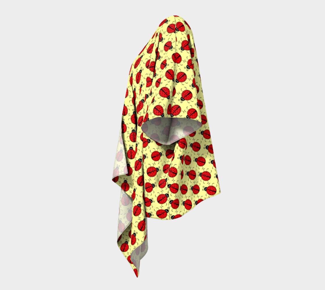 Ladybugs Pattern-Cream Draped Kimono preview #2