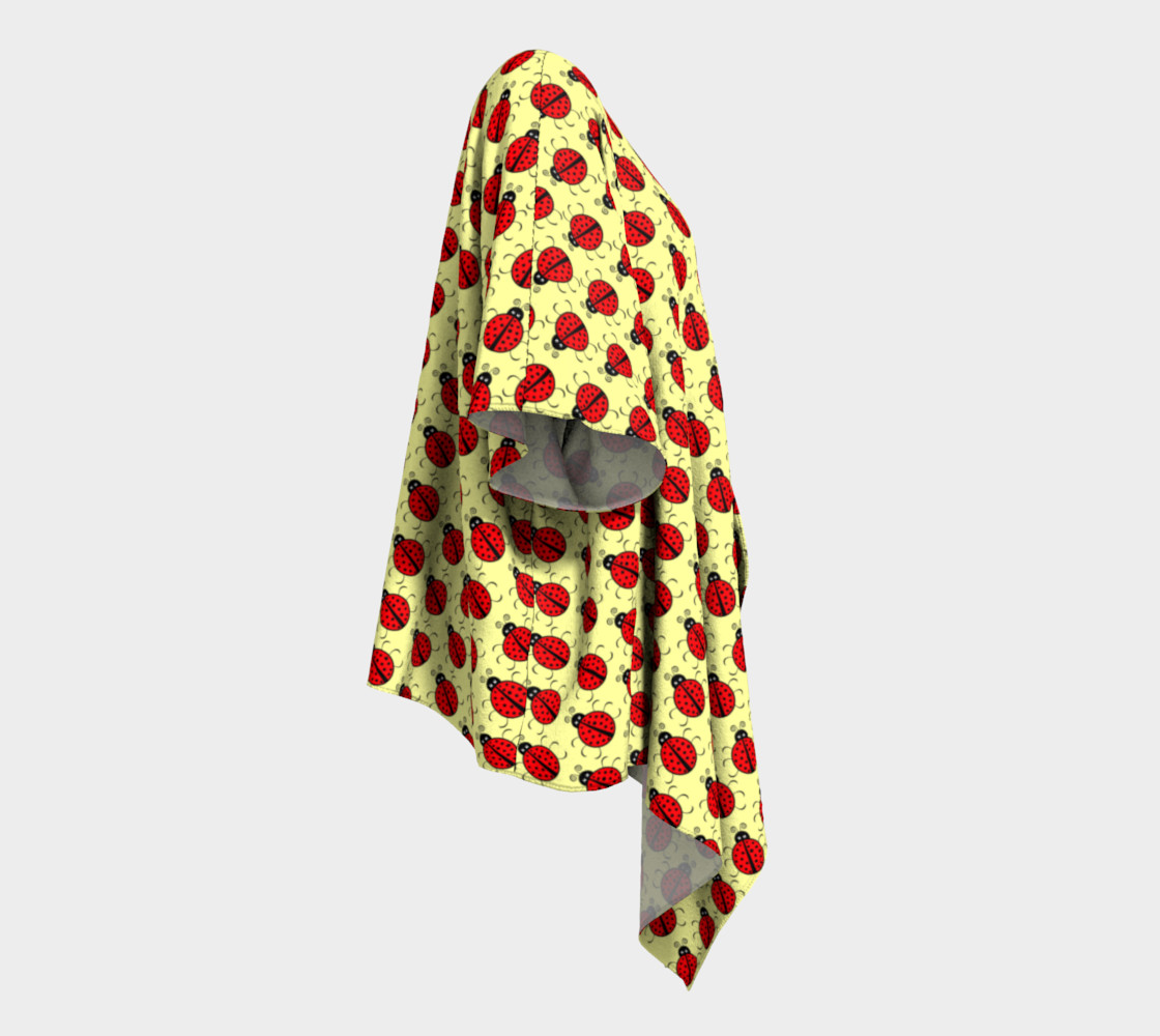 Ladybugs Pattern-Cream Draped Kimono preview #3