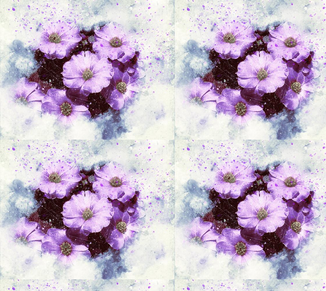 Six Purple Flowers Fabric thumbnail #1