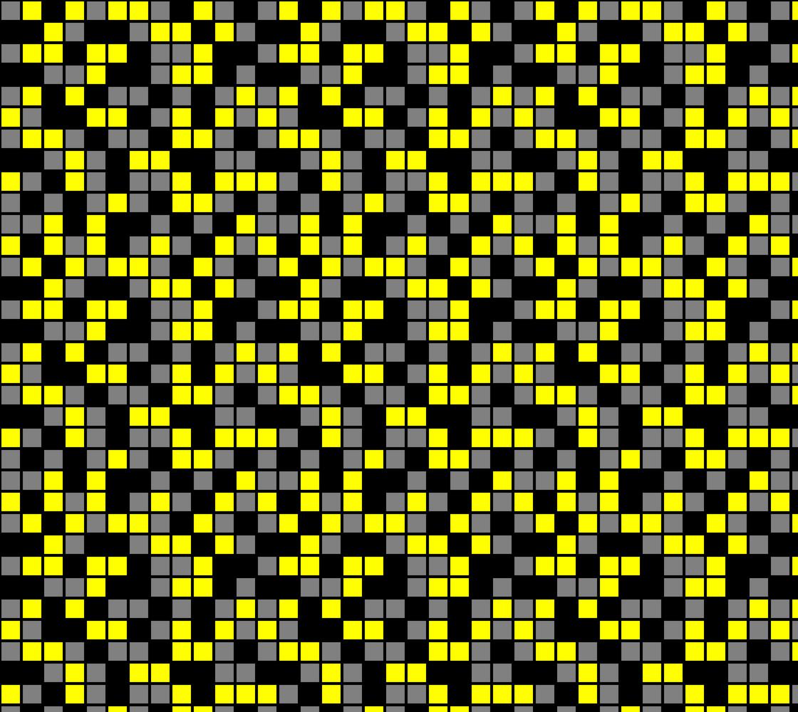 Yellow, Black, and Medium Grey Random Mosaic Squares. Design repeats every twelve inches.  Miniature #1