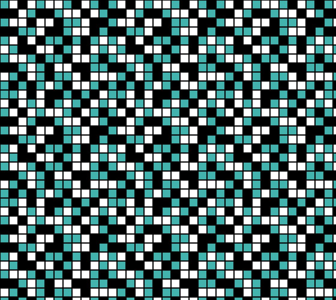 Verdigris, Black, and White Random Mosaic Squares. Design repeats every twelve inches. Miniature #1