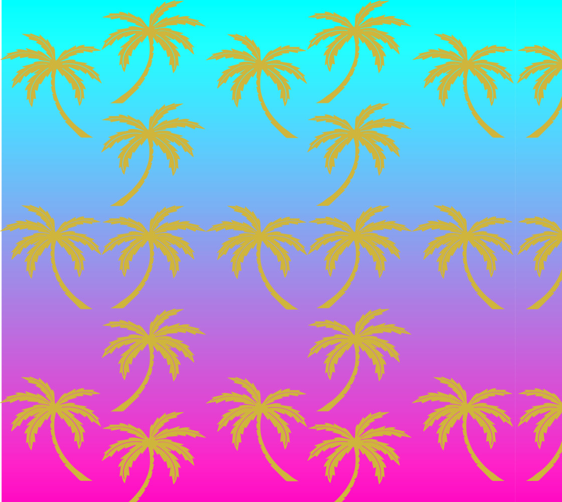 Fuschia and Turquoise Ombre Palm Tree Fabric thumbnail #1