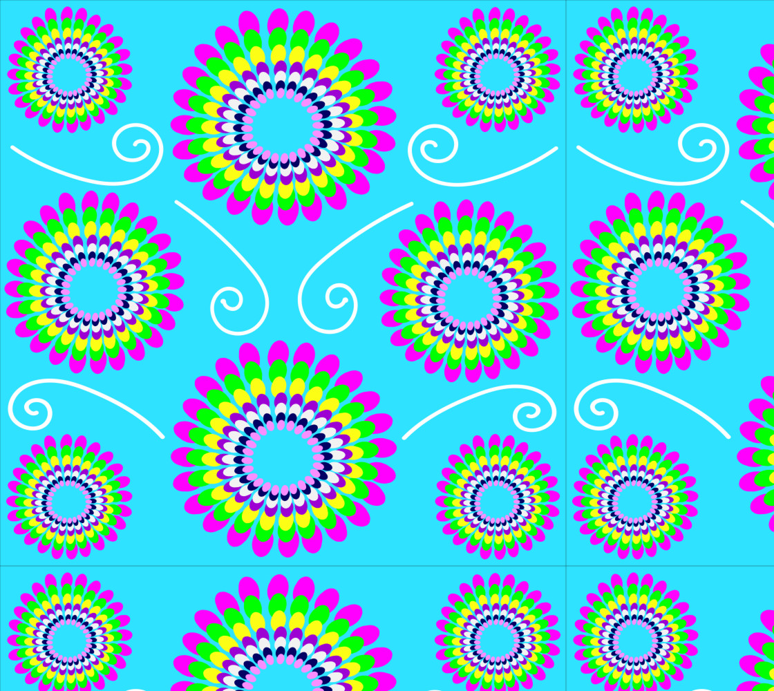 Turquoise Spiral Floral Fabric thumbnail #1